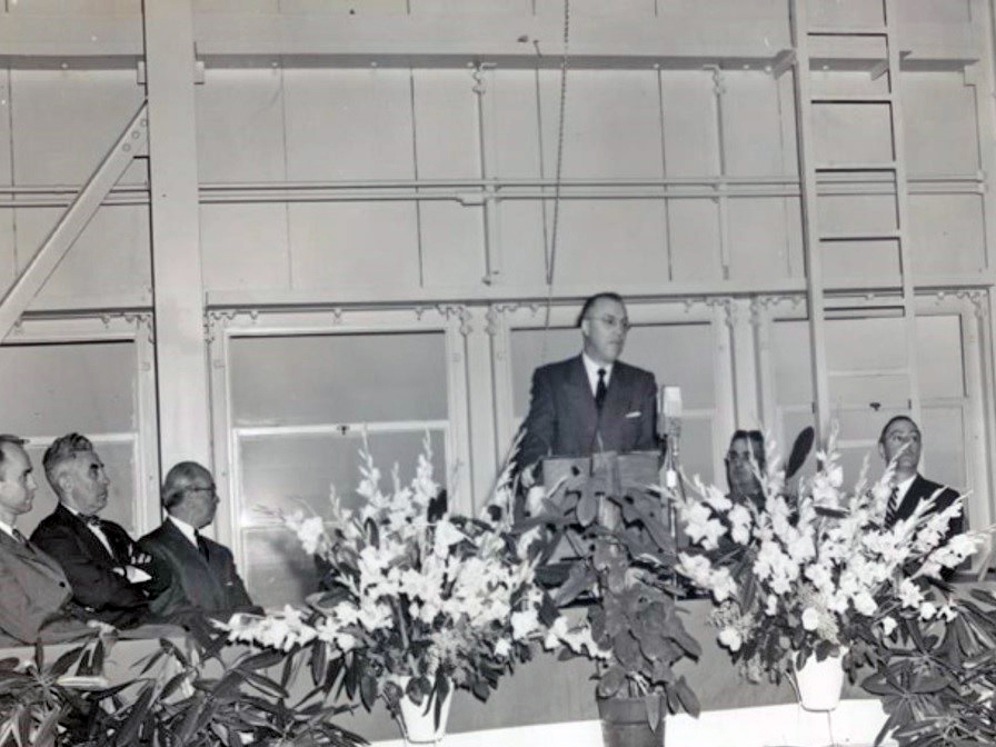 Admiral Lewis L. Strauss, Chairman of Atomic Energy Commission at dedication ceremony February 22, 1955