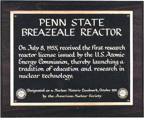 The PSBR designated as a Nuclear Historic Landmark by the American Nuclear Society in 1992